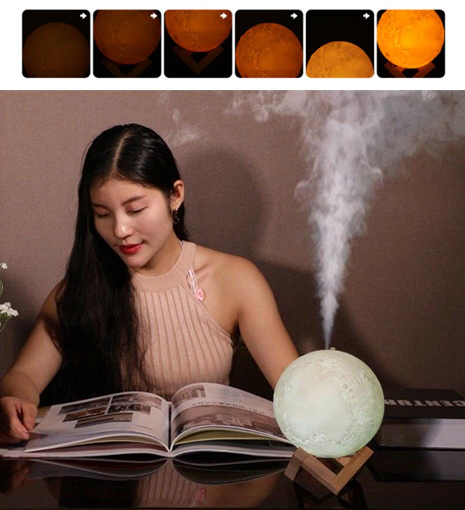 Humidificador de aire grande de 880ml difusor de Aroma de aceite esencial para el hogar 3d Led Luz de luna USB difusor de aromaterapia Envío Directo