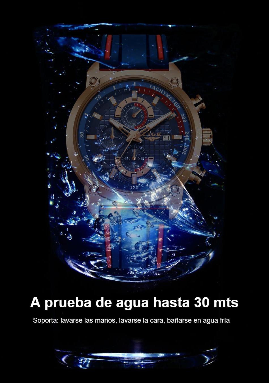 ¡Novedad de 2019! Relojes LIGE de lujo para hombre, reloj con esfera de silicona resistente al agua para hombre, reloj dorado de cuarzo, cronógrafo deportivo para hombre