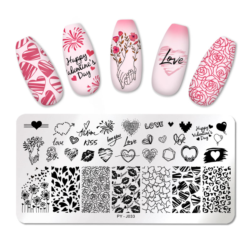 Placas de estampado de uñas PICT You Valentine's Day Love Rose Flower placa de sello de acero inoxidable herramientas de plantilla de diseño de uñas PY-J033