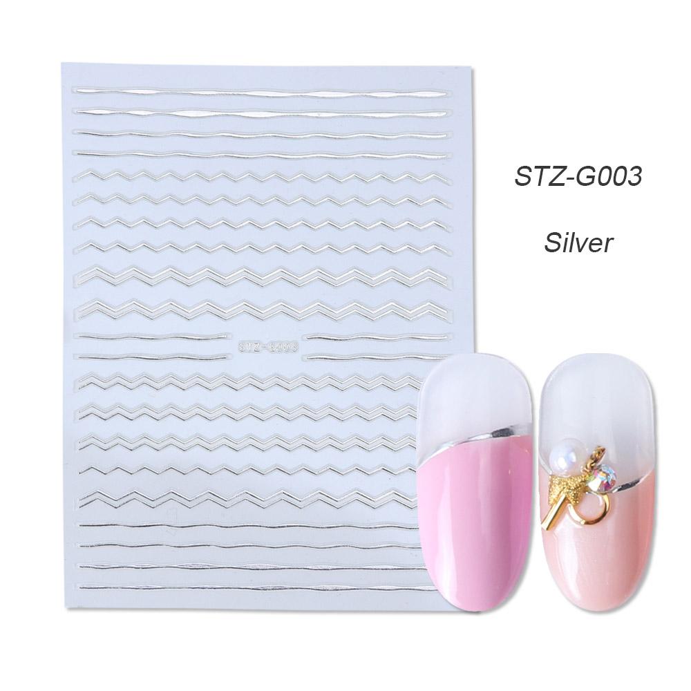 1 Uds. Pegatinas de uñas 3D plateadas doradas y plateadas, envolturas de cinta con líneas curvas rectas, decoraciones geométricas para decoración de uñas BESTZG001-013