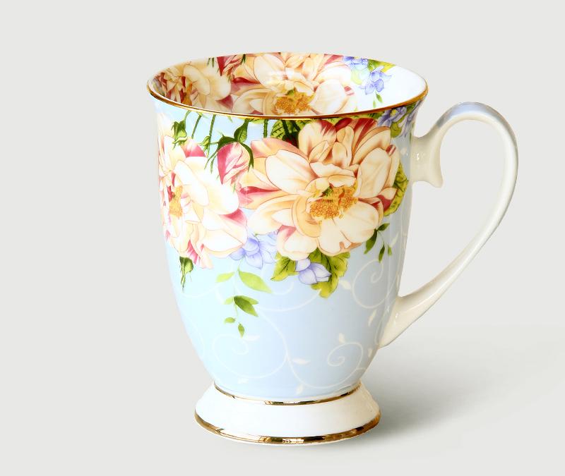 300 ML, taza de café de cerámica de porcelana de hueso, pintura floral de tazas de café, regalo creativo taza de té de cerámica, ceremonia del té vintage