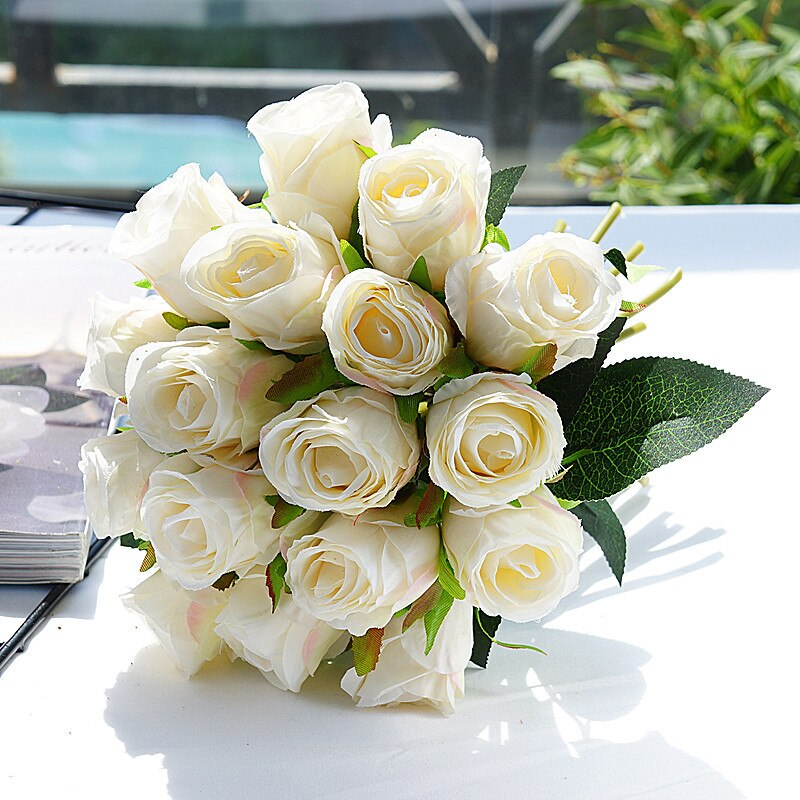 18 unids/lote flores rosas artificiales de seda rosas para decoración de fiesta en casa flores falsas ramo de flores de boda flores de Navidad