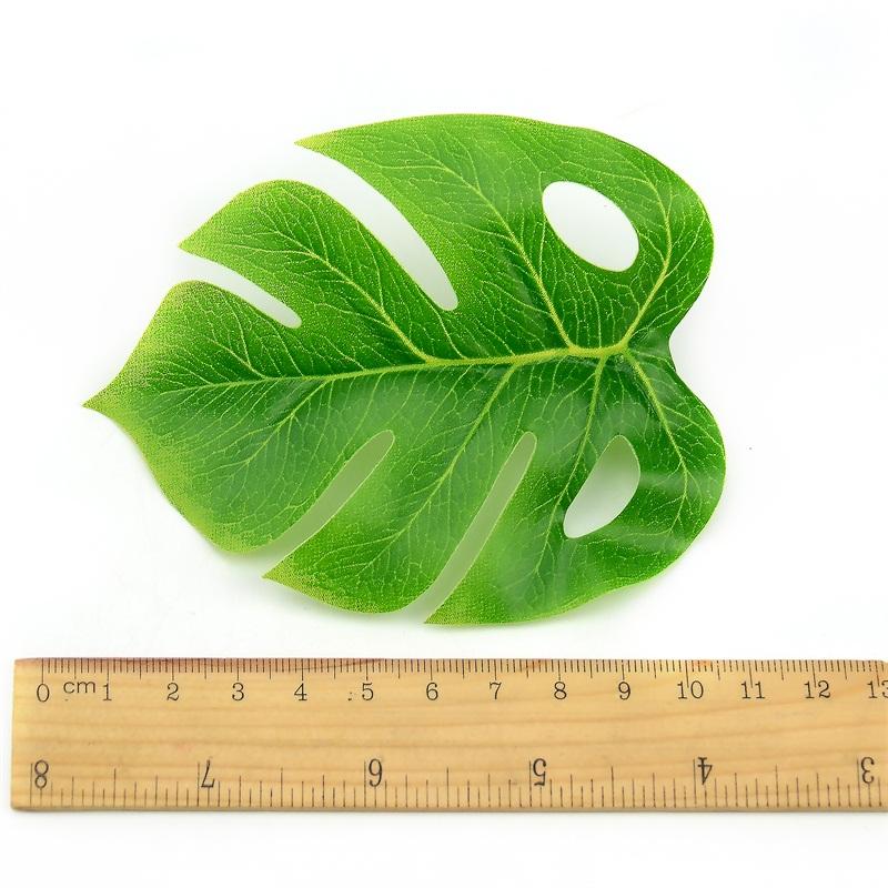 1 ramo/18 hojas de seda Artificial Palma Monstera planta con hojas para Hawaii decoraciones de fiesta hawaiana playa Decoración de mesa de boda