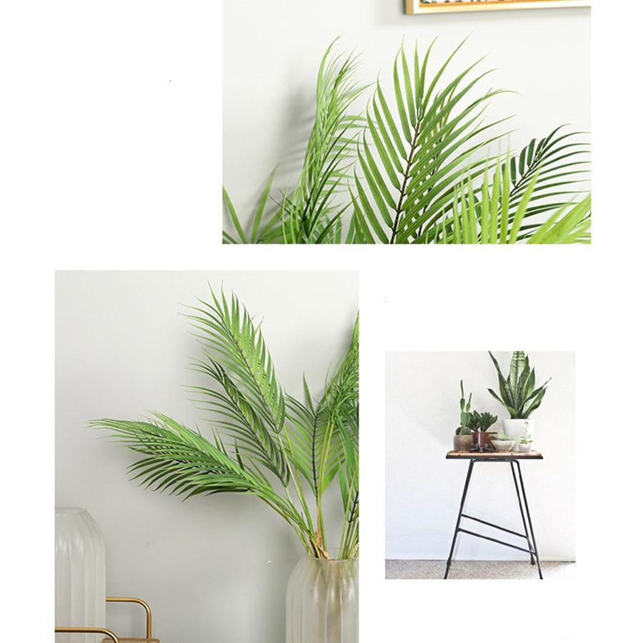 Palma árbol hojas artificiales ramas silvestres vivos follaje sintético falso planta de salón de bodas DIY decoración Selva