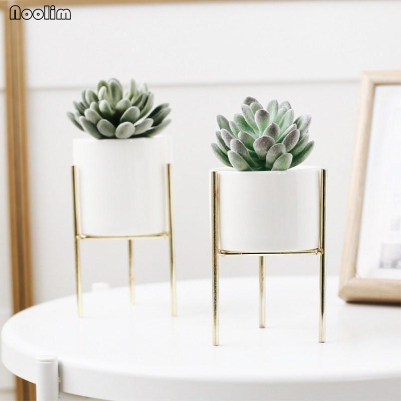 NOOLIM nórdicos de cerámica de arte del hierro florero minimalista floreros maceta para plantas de decoración del hogar para oficina café sin agujero