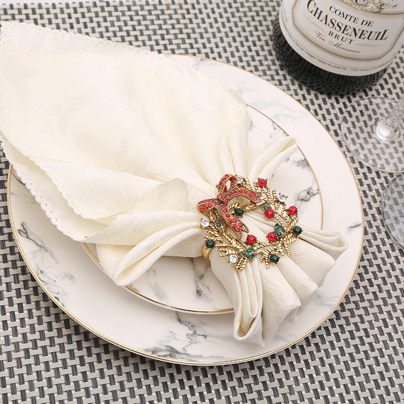 Anillo de lazo para servilleta de árbol de Navidad de gama alta de 6 uds, corona de flores, anillo para la boca, conjunto de sala de muestras de hotel, hebilla para servilleta navideñas de mesa