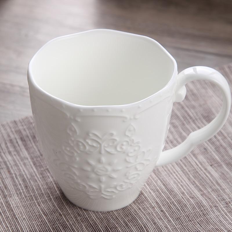 Tazas de nieve bonitas de porcelana en relieve blanco de 300ml, nespresso copo taza de café, tazas divertidas de cerámica regalo de Navidad, taza de taza para café