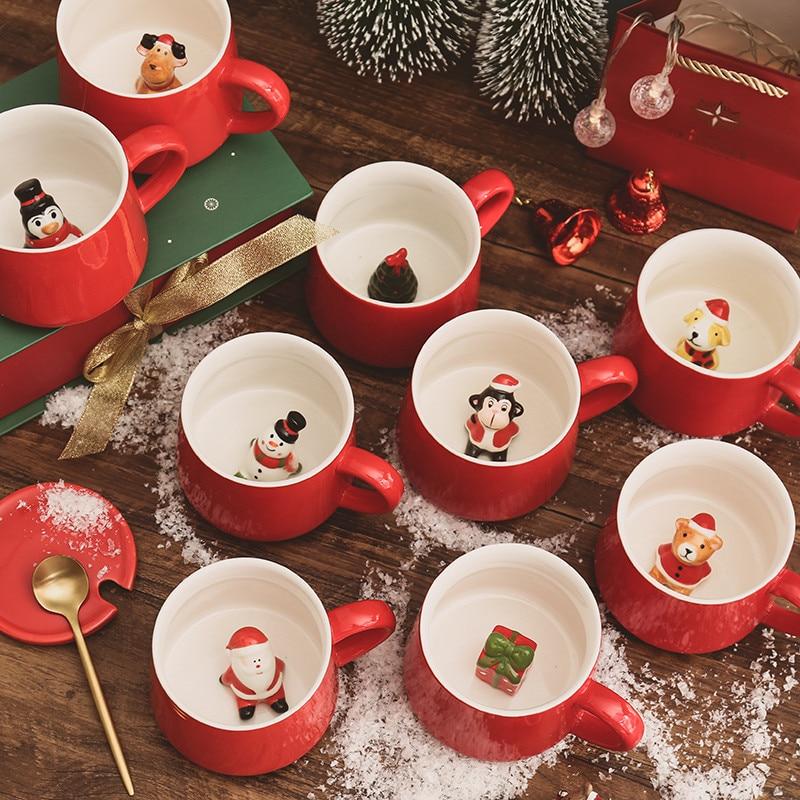 Taza de Navidad para café, leche, desayuno, muñeco de nieve, taza de té de cerámica, Animal de dibujos animados 3D, regalo de Navidad, taza de agua, vasos de oficina