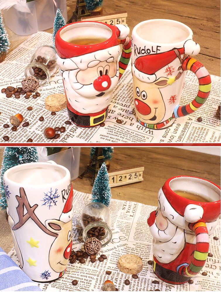 Taza de cerámica navideña de alce, regalo de Navidad, pareja de tazas de 600ml de gran capacidad, taza de agua café de oficina con tapa, cuchara