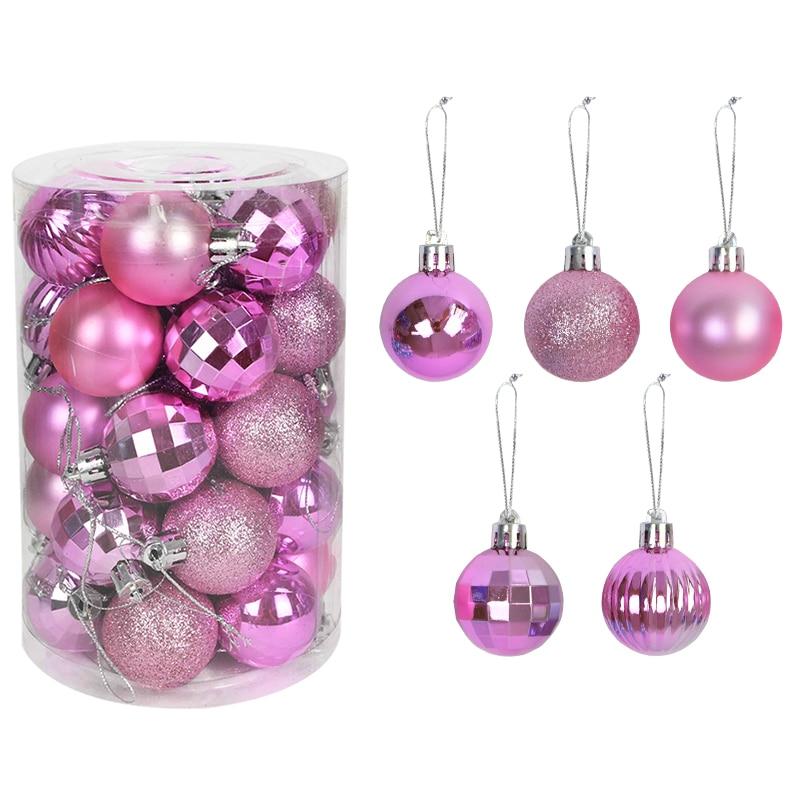 Bolas para decoraciones para árboles de Navidad de 4cm, adornos de bolas colgantes para fiesta de Navidad, adornos navideños para el hogar, regalo de Año Nuevo, 34 Uds.