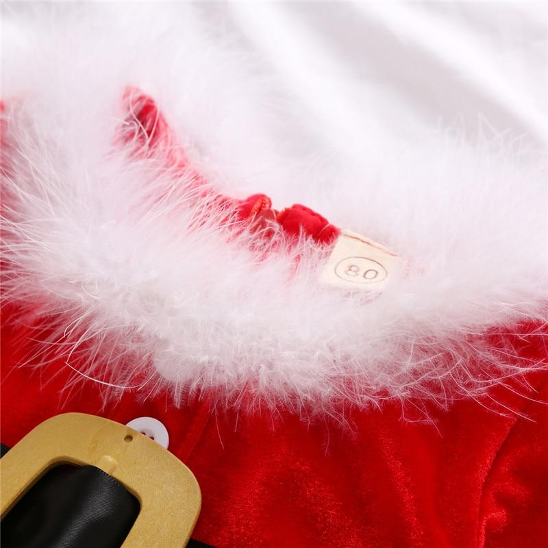 Vestido de forro polar para niñas pequeñas, falda de cintura alta de manga larga con cuello redondo y cremallera trasera, vestidos con estampado de Santa 6M-4Y