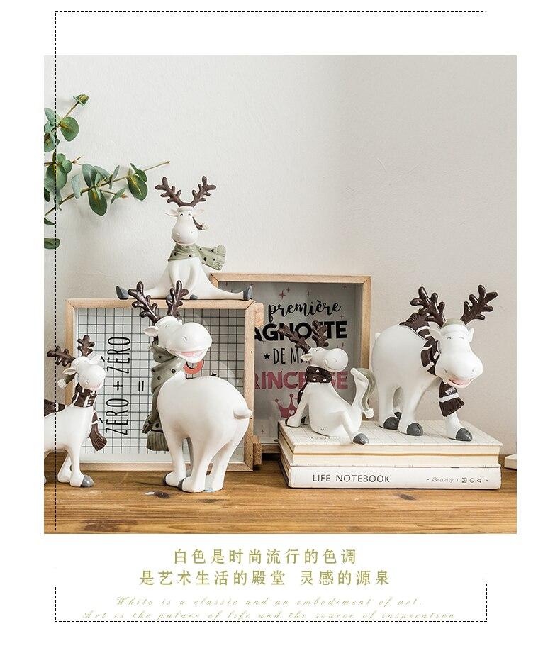 Accesorios de decoración para el hogar, figuritas de animales para sala de estar, decoración de regalo de Navidad, figurita de ciervo, manualidades modernas, adornos