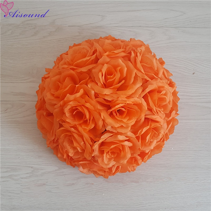 Bola Artificial de flor de rosa de seda para boda, centro de mesa de boda, pompones de beso, Fiesta de matrimonio, decoración de Año Nuevo, 1 ud.