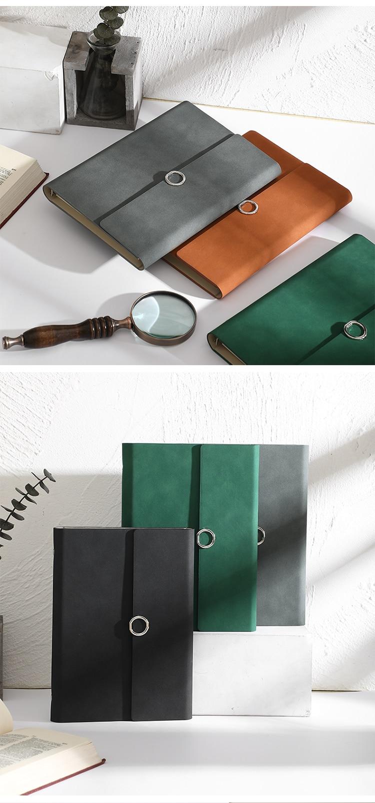 MINKYS-Cuaderno de negocios de cuero PU A5, hojas sueltas, Agenda, papel rellenable, papelería escolar creativa