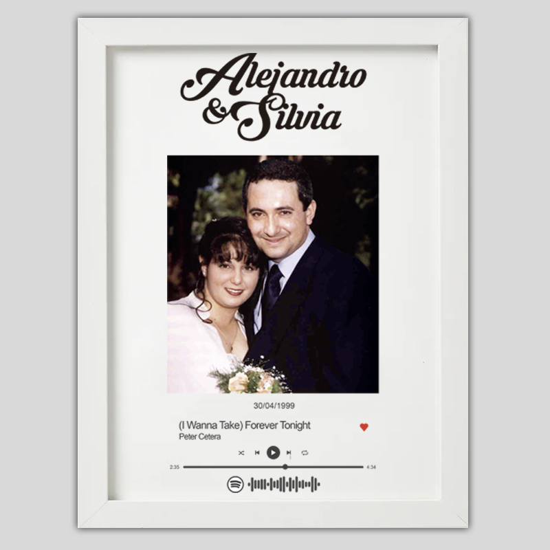 cuadro recuerdo de boda con spotify